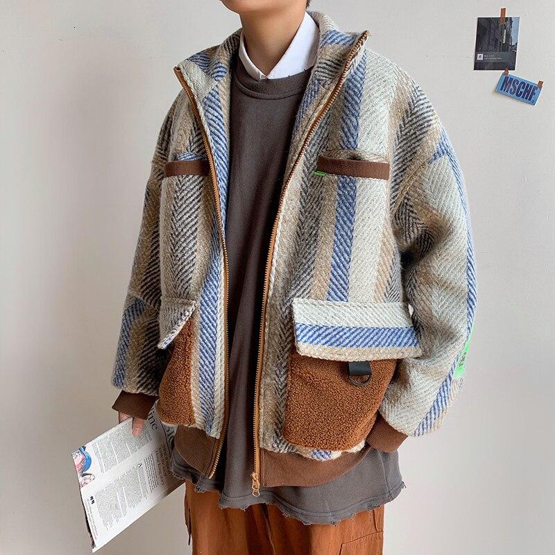 Thick Woolen Coat Men Fashion Contrast Color Casual Striped Woolen Jacket Men Streetwear Large Size Tooling Jacket Male S-5XL