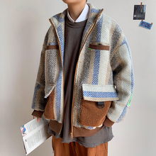 Thick Woolen Coat Men Fashion Contrast Color Casual Striped Woolen Jacket Men Streetwear Large Size Tooling Jacket Male S-5XL men contrast binding striped tee