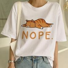 2020 Women Nope Cat Funny Cartoon Print Cute T Shirt Girl Harajuku Kawaii Fashion T-shirt Summer Sho