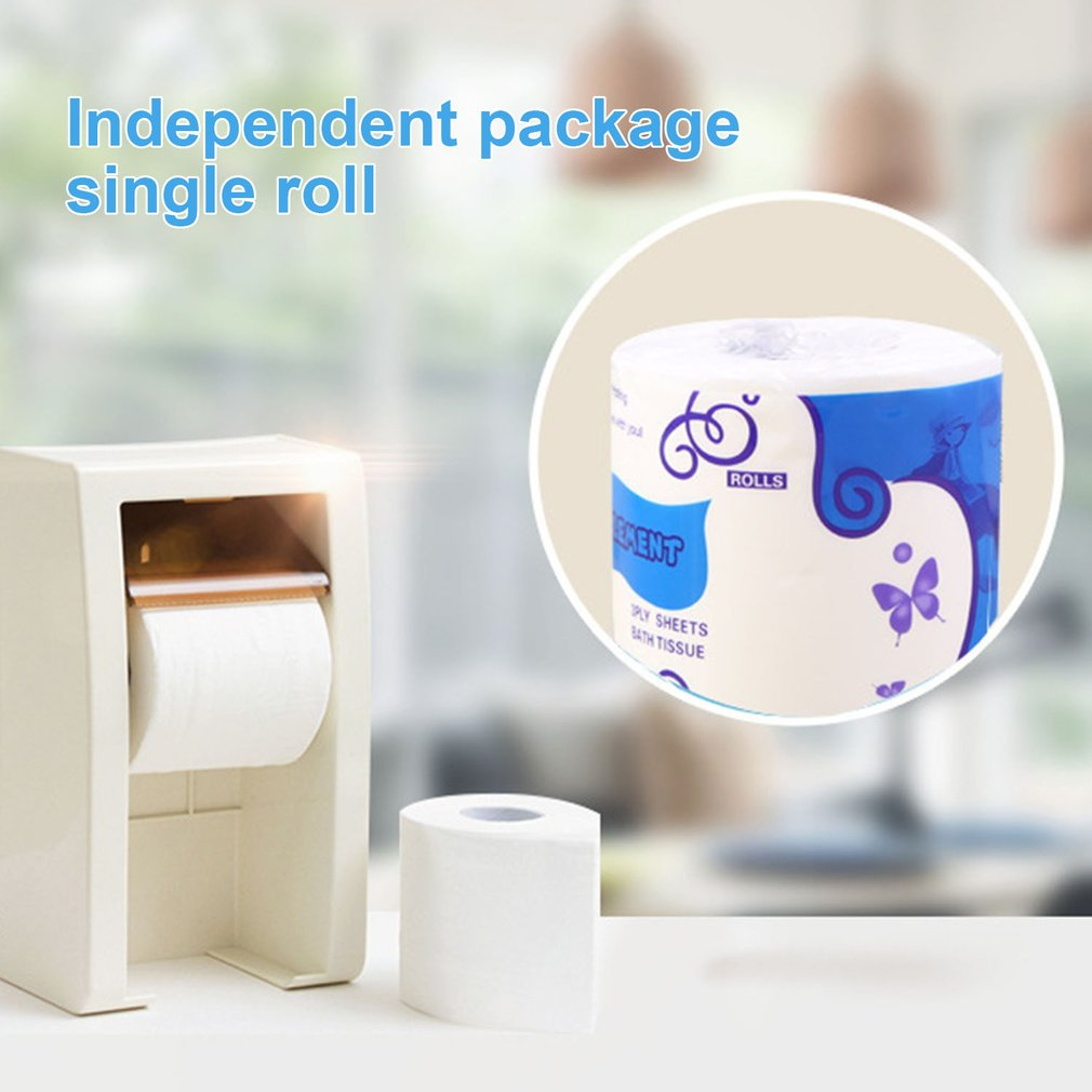 2 Rolls Standard 3-ply Toilet Paper Bulk Rolls Bath Tissue Household Bathroom Soft Paper Towel