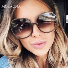 Gafas De Sol redondas De gran tamaño para mujer y hombre, anteojos De Sol unisex con gradiente Retro De plástico, a la moda, De diseñador De marca, con UV400, 2021