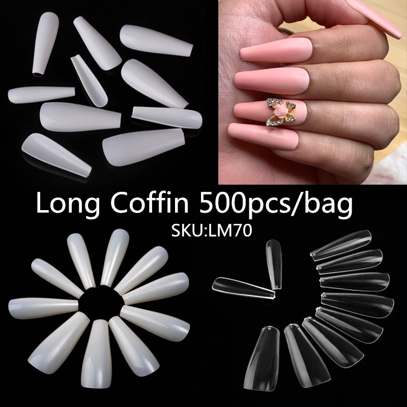 500/600/100pcs Long Ballerina Full Nail Tips Acrylic Press On Fake Nails Coffin Shape Professional False Nails DIY Salon Tools