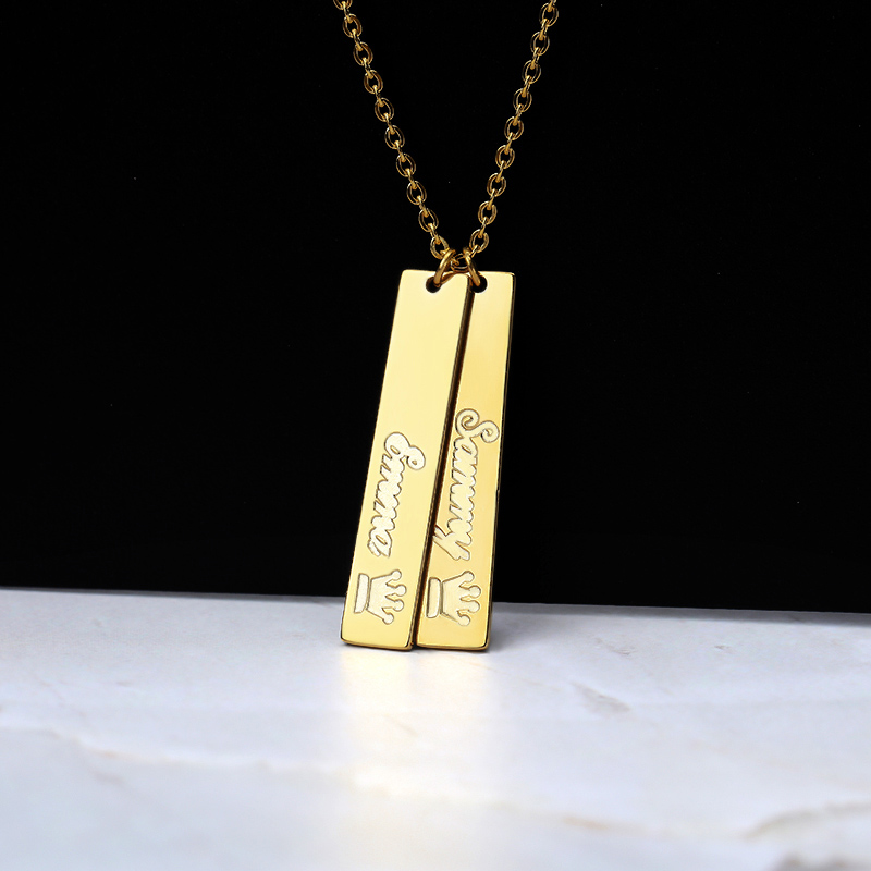 Custom Vertical Bar Necklace Silver Gold Chain Stainless Steel Personalized Engraved Crown Name Pendant Necklace Best Gift