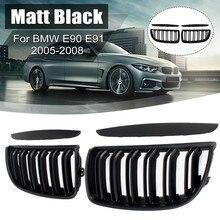 Calandre de course pour BMW E90 E91 2005 2006 2007 2008, ensemble de 4 paires de calandre à Double lamelles de style noir brillant mat