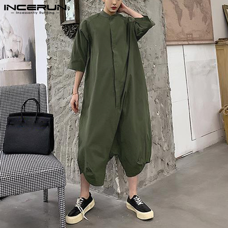 INCERUN Fashion Men Jumpsuits Loose Solid Half Sleeve 2020 Streetwear Joggers Button Overalls Casual Drop-crotch Pants Men S-5XL