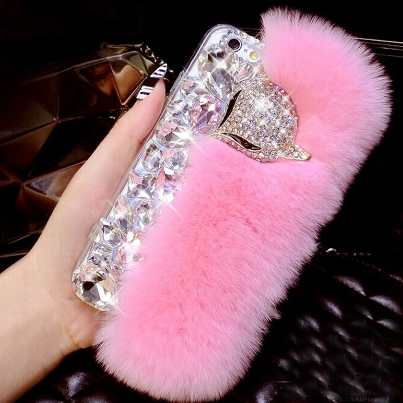 Luxury Fancy Diamond Crystal Stones Fox fur phone case For iPhone 11 X 6 7 Plus For Samsung galaxy S8 S9 s10 s20 Back Cover(China)