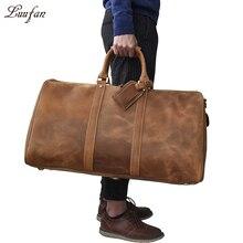Мужская большая Вместительная дорожная сумка из натуральной кожи, прочная дорожная сумка из кожи crazy horse, большая сумка на плечо из натуральной кожи для выходных