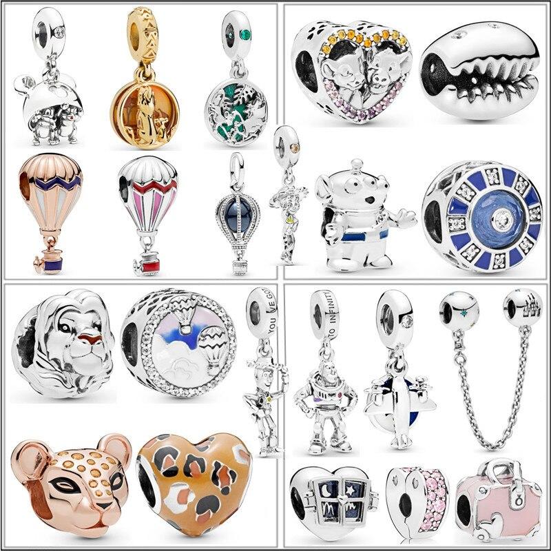 2019 NEW Silver Summer Shine Gold Lion King Simba Airplane Castle Charm Fit Pandora DIY Original Bracelet Jewelry Women Gift