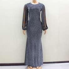 2020 Slivery Glitter Button Fit And Flare Solid Natural Waist Dress Dashikiage Fashion New Arrival Modern Lady Party Dress