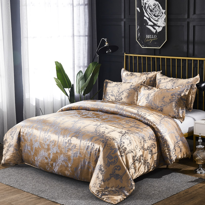 Duvet Cover Pillow Shams Set Luxury Jacquard Pattern Silky Fabric 8 Size Single Double Full Queen King Size 200 200 240 220 in Duvet Cover from Home Garden