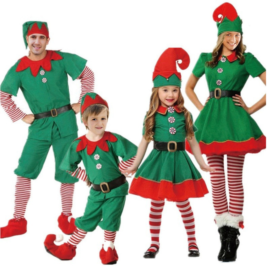2019 Women Men Boy Girl Christmas Santa Claus Costumes Kid Adult Family Match Green Elf Cosplay Costumes Carnival Party Supplies