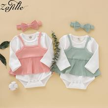 ZAFILLE Baby Girl Clothes 3Pcs Outfits Summer Kids With Headband Solid Bodysuit Set Cotton Girls Clothing