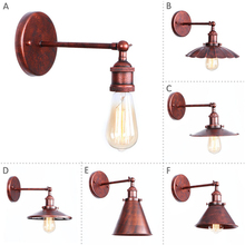 Nordic rust Wall Sconce Industrial LED Wall Lamp Vintage Light Loft E27 Bulb Iron Retro Home Deco Bedroom Desk Lighting Fixtures цена