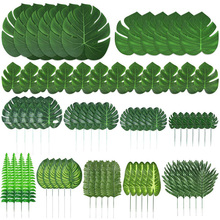 103 Pieces 12 Kinds Artificial Palm Leaves with Stems Jungle Leaves Decorations for Party Decorations Diy Garden Home  Decor