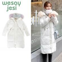 Women Jacket Autumn Winter 2019 X-Long Padded Jacket Pocket Coat Parka Coat Thick Warm Big Fur Collar Causal Hooded Parka Jacket цены онлайн