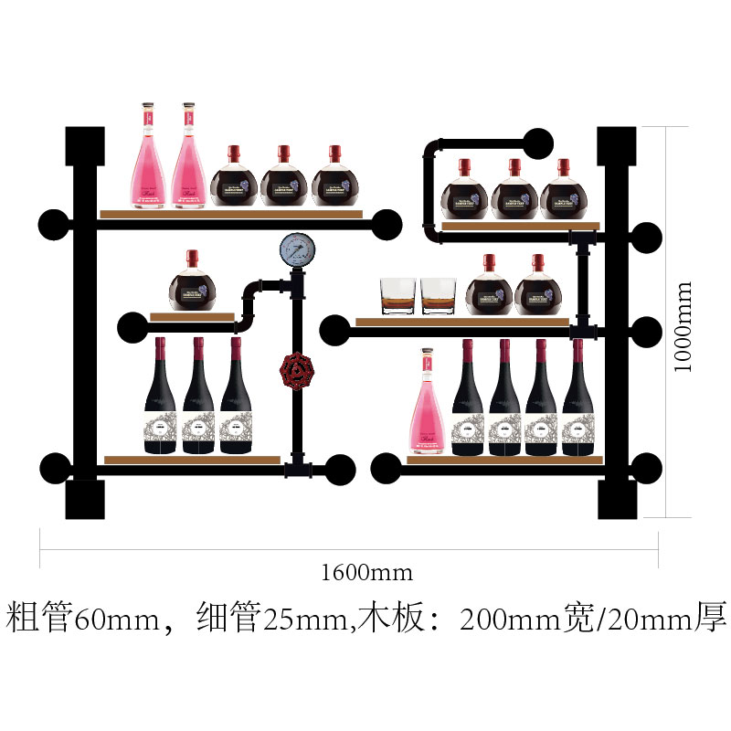 Retro Design Creative Wall-mounted Wine Rack, Home Wall Decoration, Wine Cup Rack, Wine Cabinet Wall Wine Bottle Rack CF