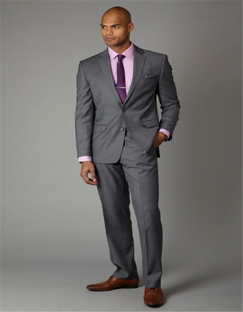 Formal Grey Men Formal Business Office Party Suits Man Bridegroom Wedding Tuxedos Spring Causal Suits (Jacket+Pant)