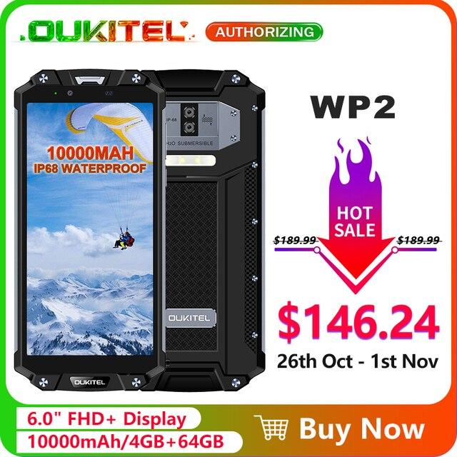 """OUKITEL WP2 IP68 방수 NFC 스마트 폰 6.0 """"18:9 MT6750T Octa 코어 4GB RAM 64GB ROM 10000mAh 지문 휴대 전화"""