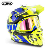 Dirt Bike Helm Motocross Helm Mit Brille Kreuz Land Helm MX Capacetes Moto Casco Off Road Kask Casque SOMAN SM633