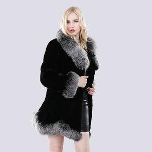 Image 3 - חדש חורף נשים טבעי ארוך סגנון אמיתי רקס ארנב פרווה מעיל רוסיה ליידי חם אופנה רקס ארנב פרווה מעיל עם שועל פרווה צווארון