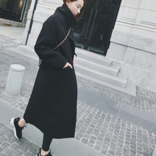 New Women Woolen Coat Long Sleeve Turn-down Collar Blend Coat Outwear Ladies Aut