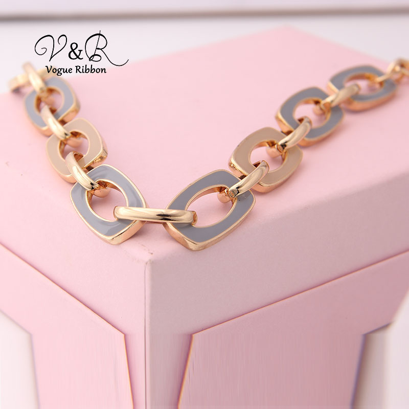 Two Tone Enamel  Penent Multiple Sized Link Chain N Necklace (10)