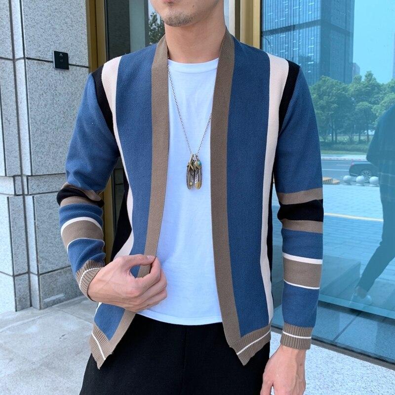 Épissage contraste pull manteau décontracté hommes Sweatercoat Tricot Cardigan tricoté chandail Casaco Masculino Hombre Cardigan pull - 2