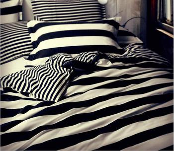 4pcs Strips Bedding Set Includes Duvet Cover Flat Sheet Fitted Sheet Pillowcases Without Filler 100% Cotton Classic Black White