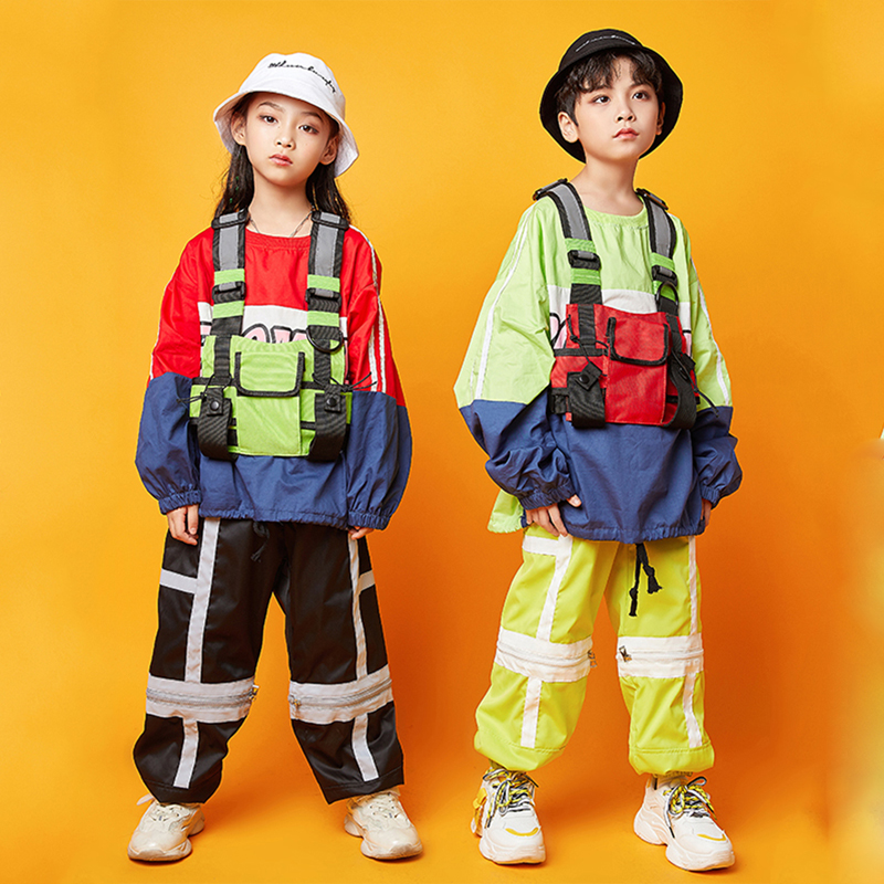 Boys Jazz Dance Costumes Children Ballroom Hip Hop Clothing Street Dancewear Hip Hop Dance Costumes Girls Stage Outfits DQS3770