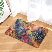 цена на Feather Printed Flannel Entrance Doormat Peacock Pattern Non Slip Bathroom Carpet Kitchen Mat Home Decorative Living Room Rug
