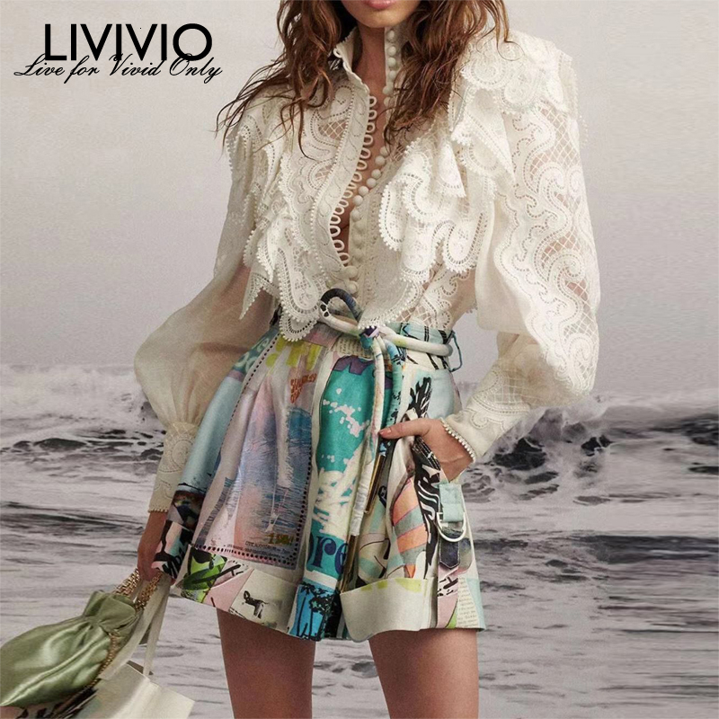 [LIVIVIO] ZIM Embroidery Lace Ruffled Lantern Long Sleeve Stand Neck Single Breasted Shirts + Mini Skirt Women Two Piece Sets