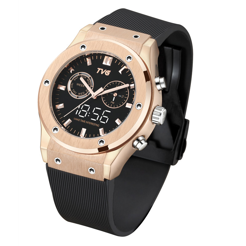 Мужские часы водонепроницаемые с двойным дисплеем кварцевые часы из нержавеющей стали чехол светодиодный цифровой настоящий маленький циферблат Роскошные мужские часы TVG KM901|Кварцевые часы|   | АлиЭкспресс