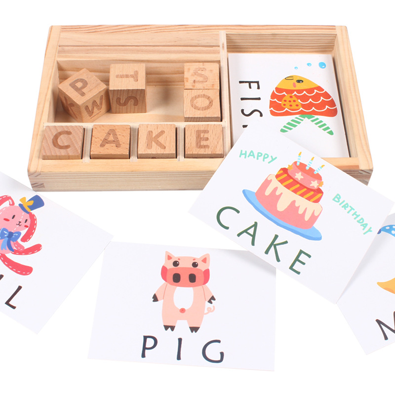 DIY Creative Wood Puzzle Cards Spelling English Words Learning Letter Montessori Early Educational Toys For Children Kids