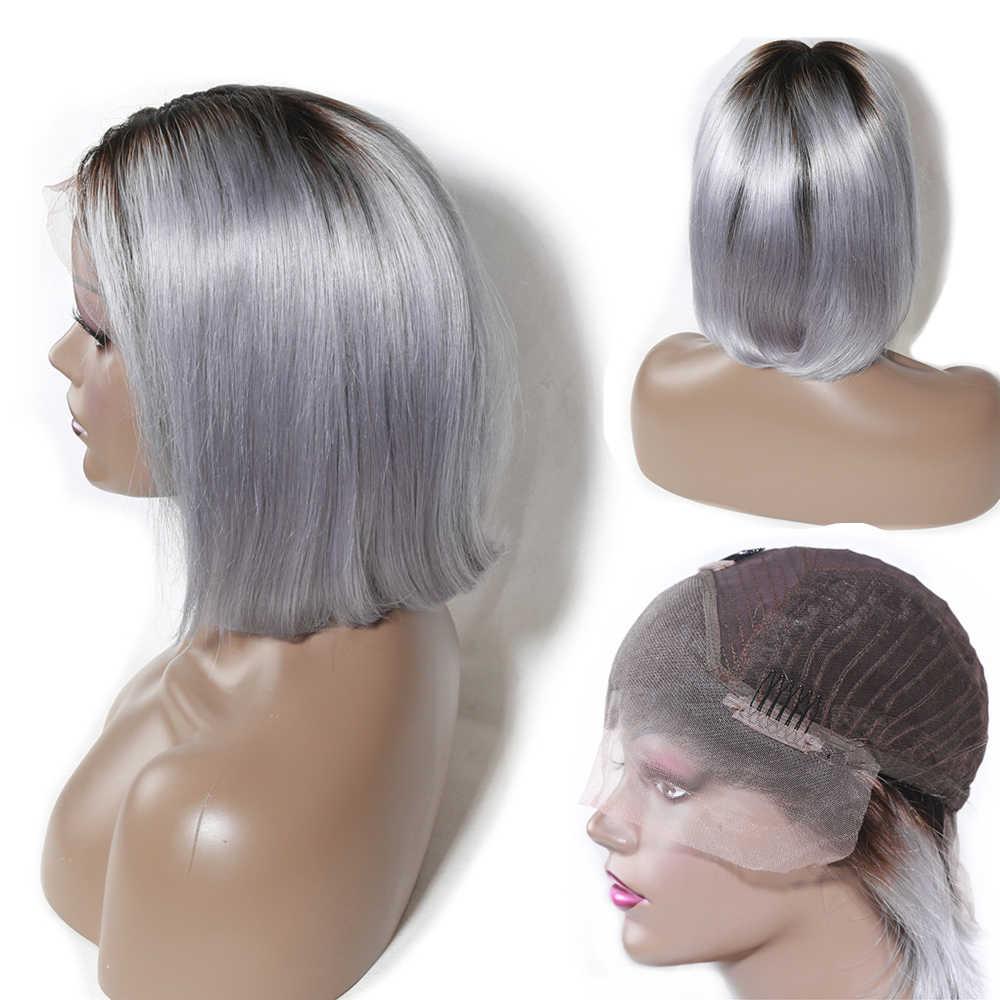 Korte Bob Pruiken Rechte 13X4 Lace Front Menselijk Haar Pruiken Voor Zwarte Vrouwen 1b/613 Blonde 1b/Grijs Pre Geplukt Indian Remy Haar Pruiken