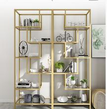 Nordic aureate bookshelf iron art sets content rack glass of shelf sitting room modern simple and originality displays