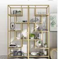 Nordic aureo scaffale cremagliera cremagliera di vetro di arte del ferro imposta contenuto di scaffale salotto di semplice e moderno e semplice originalità display