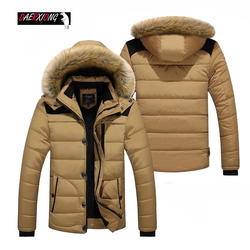 M-6XL Winter Men Down Jacket Coat Thick Warm Plus Velvet Hooded Parka Men Big Size Zipper Windbreaker Jacket Casaco Masculino