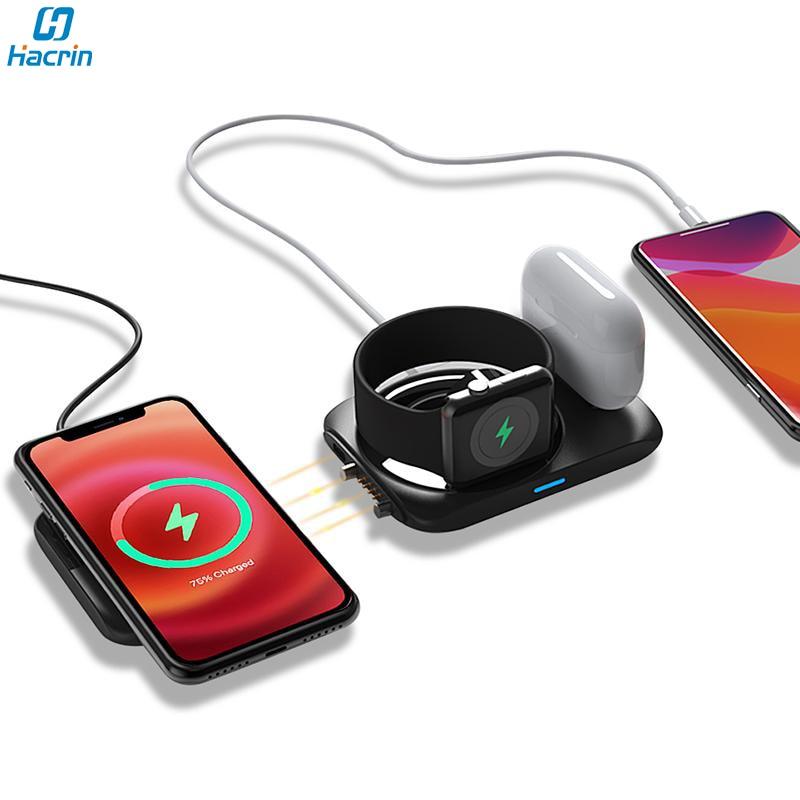Быстрая Беспроводная зарядная станция 4 в 1 Qi, магнитное Беспроводное зарядное устройство, зарядная док-станция для iphone 12, Apple Watch Airpods Pro