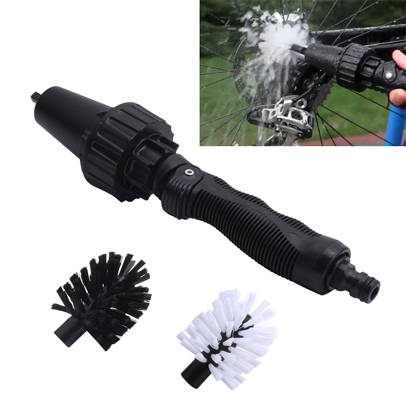 Car Wheel Wash Brush Wheel Tire Rim Scrub Brush Water-driven Rotating Cleaning Brush Car Tire Rim CleaningHandle Brush Tool