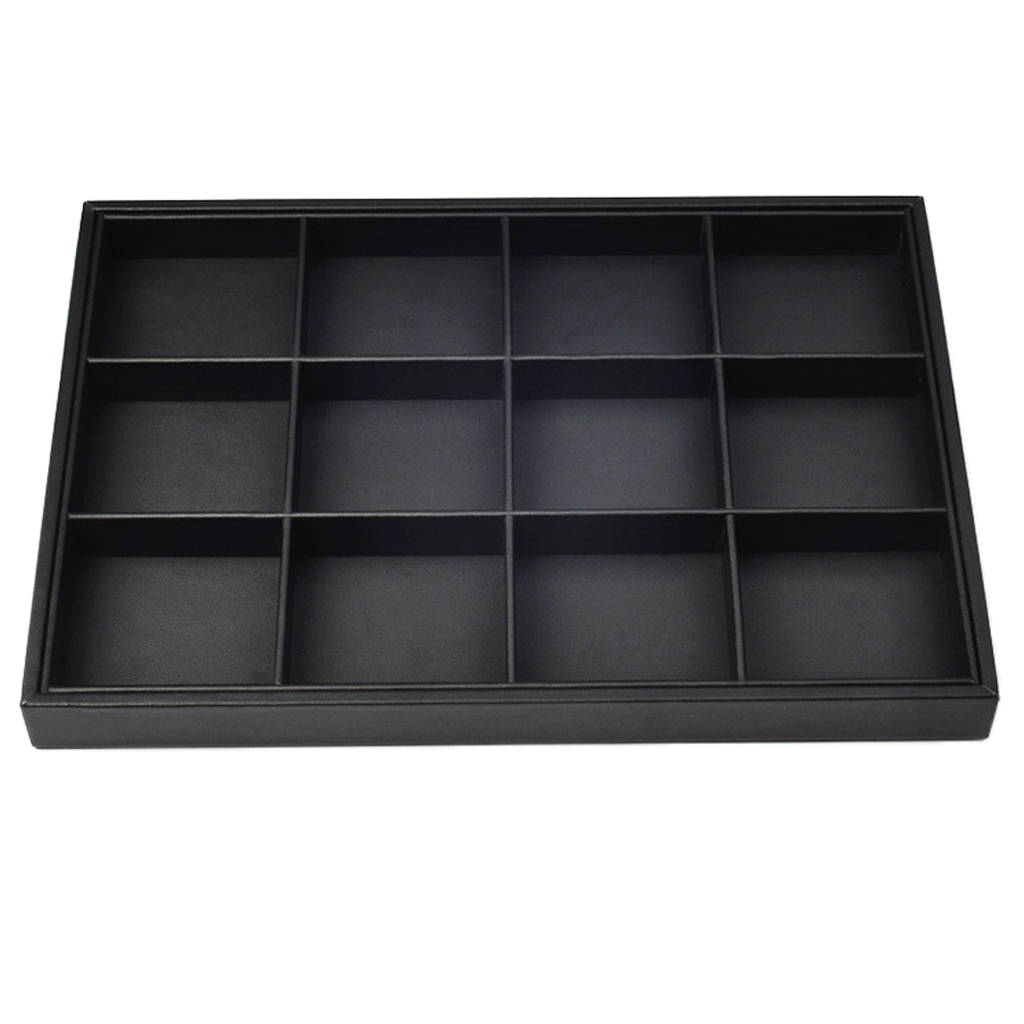 Stackable PU Leather Jewelry Tray Earring Necklace Bracelet Ring Organizer Display Storage Box