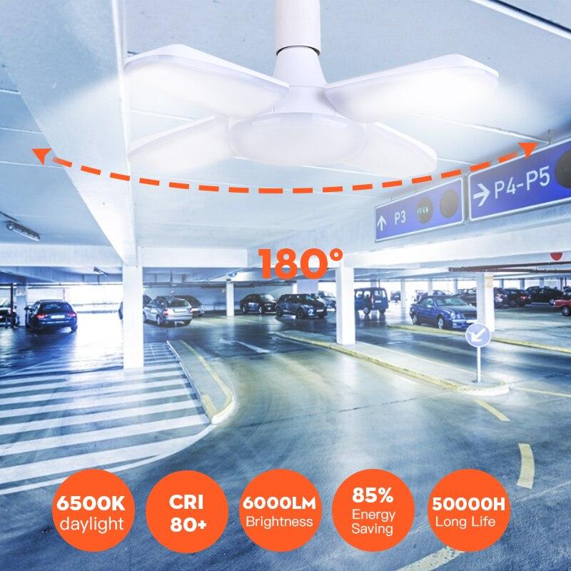 Endüstriyel lamba atölye ışık 45 W/60 W/80 W E27 LED ampul süper parlak üç yapraklı LED garaj aydınlatma için Led tavan garaj 220V