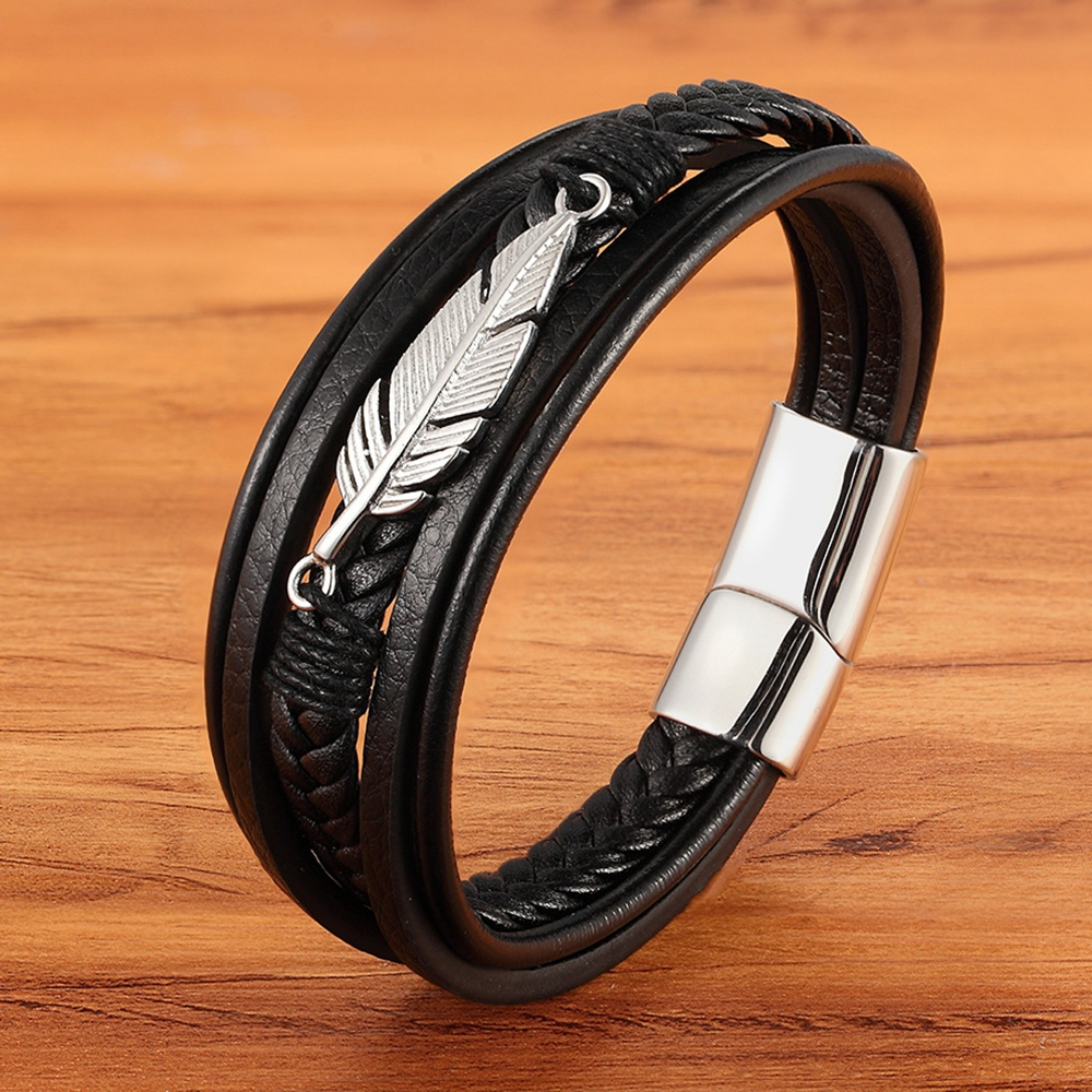Multi-layer Leather Combination Small Accessories Simple Style Men's Stainless Steel Leather Bracelet Classic Gift Big Sale