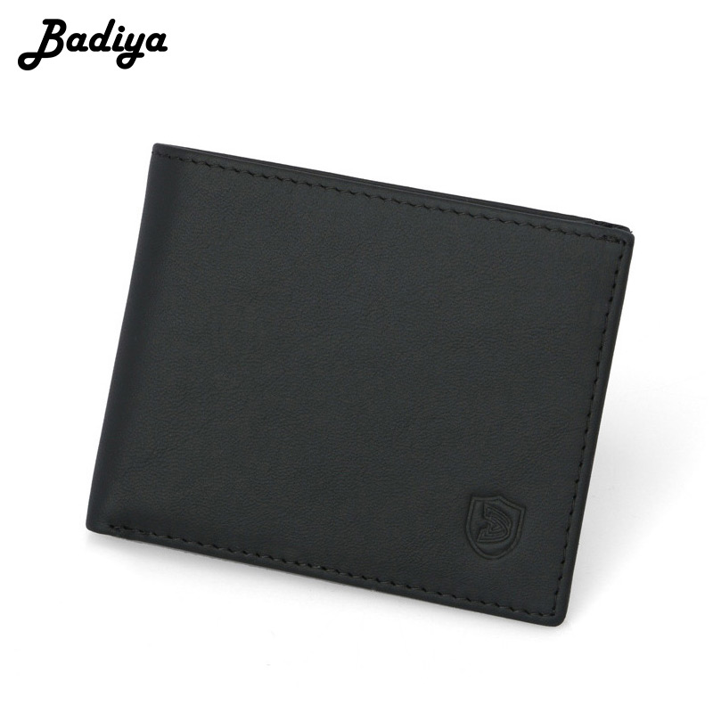 Fashion Genuine Leather Men Wallet Biref Hasp Short Cow Leather Anti-theft Brush Multi-card Position Card Holder Male Coin Purse