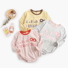 New Newborn Baby Clothes 0-12M Long-sleeved Striped Letter Printed Girl Autumn Round Neck Cotton Cute
