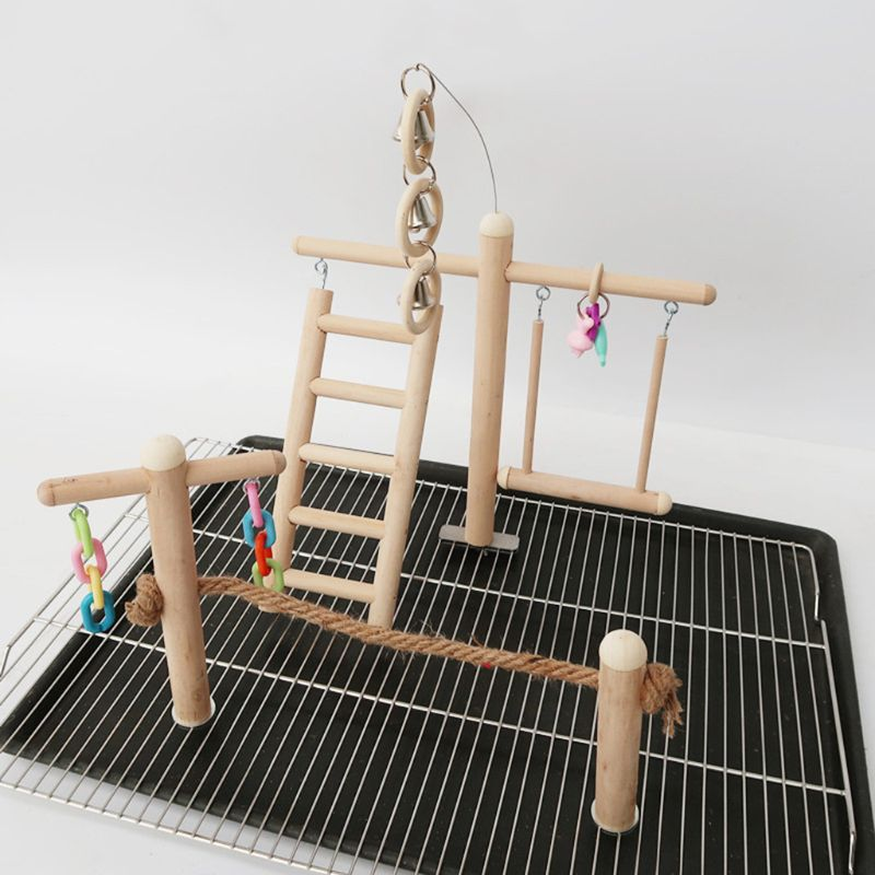 Bird Cage Stand Play Gym Perch Playground Wood Parrot Climbing Ladder Chewing Chain Swing for Lovebirds Budgies Finche | Happy Baby Mama