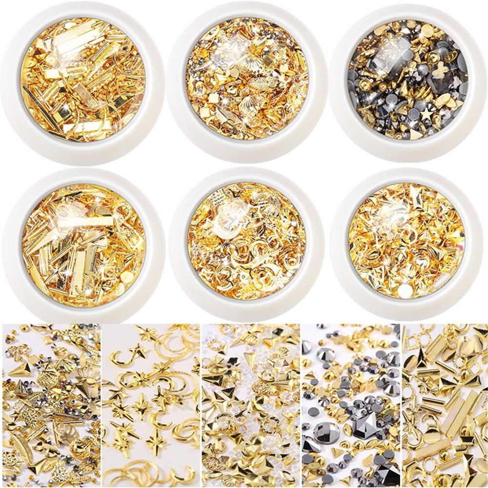 Маникюрные гвозди в 1 коробке с золотыми лунами, звездочками, гвоздиками, украшениями, звездами, круглыми лунами, маникюрный салон