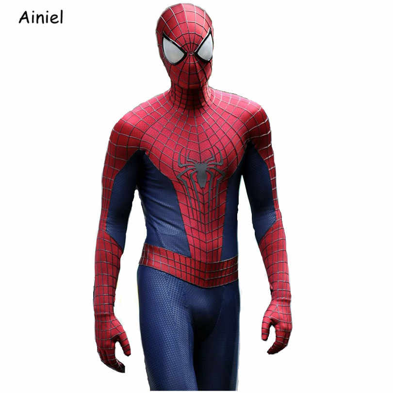 The Amazing Spider-Man 2 Suit Spiderman Cosplay Kostum Peter Parker Zentai Spider Man Bodysuit Topeng Halloween Pria Anak dewasa