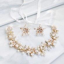Floralbride Handmade Rhinestone Crystal Pearls Flower Wedding Tiara Headband Earring Set Bridal Hair Accessories Women Jewelry
