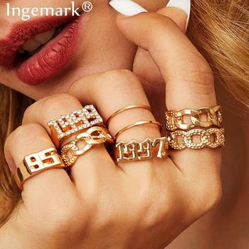 Ingemark Luxury Crystal Infinity Rings Set For Women Girls Twisted Ring Couple Gold Color Engagement Wedding Jewelry 2020 New