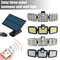 138 LED Solar Lichter Im Freien 3 Kopf Motion Sensor 270 Weitwinkel Beleuchtung Super Helle Wasserdichte Fernbedienung Wand Lampe